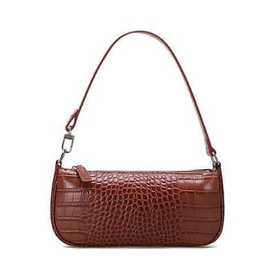 Embossed crocodile pattern leather shoulder bag