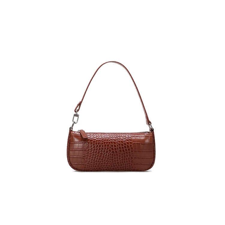 Embossed crocodile pattern leather shoulder bag 1
