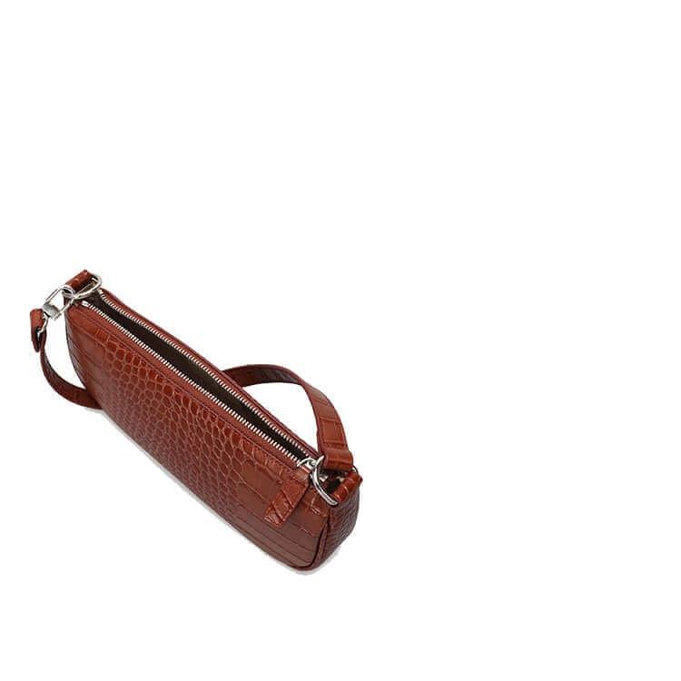 Embossed crocodile pattern leather shoulder bag 2