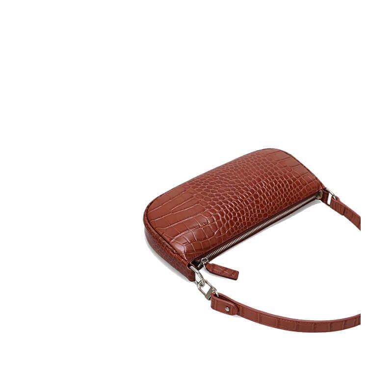 Embossed crocodile pattern leather shoulder bag 4