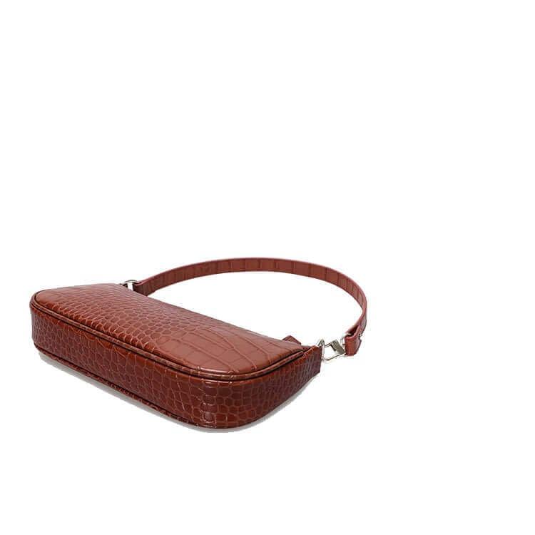 Embossed crocodile pattern leather shoulder bag 5