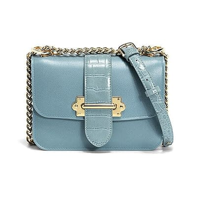 Designer handbag with accordion design and chain strap