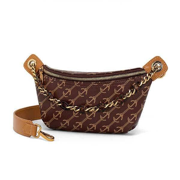 Printed PVC belt bag with agate look chian handle (1)